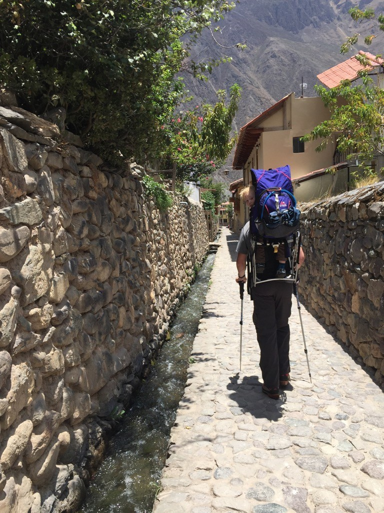Stepping back in time, cobblestone streets of Ollantaytambo.